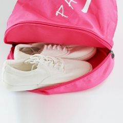 Nylon Drawstring Backpack Bag With Shoe Compartment