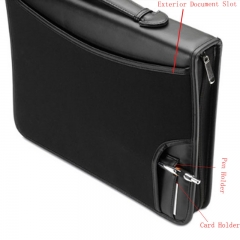 Zippered Leather Business Portfolio Padfolio with Handle