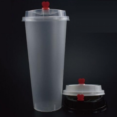 Economy Plastic Cup with Straw Slotted Lid